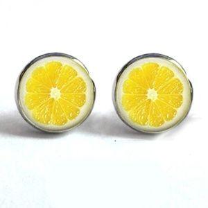 Jewelry - NEW Silver Yellow Lemon Slice Round Stud Earrings